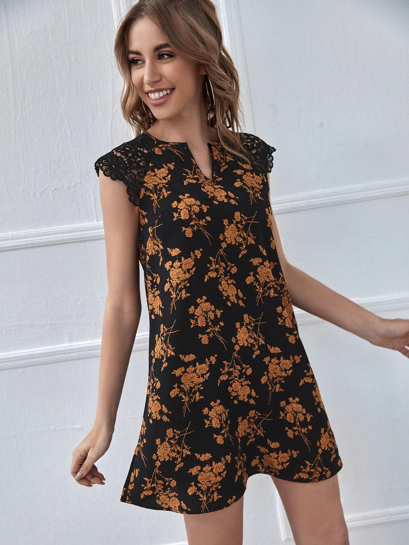 Notch Neck Lace Shoulder Floral Print Dress thumbnail