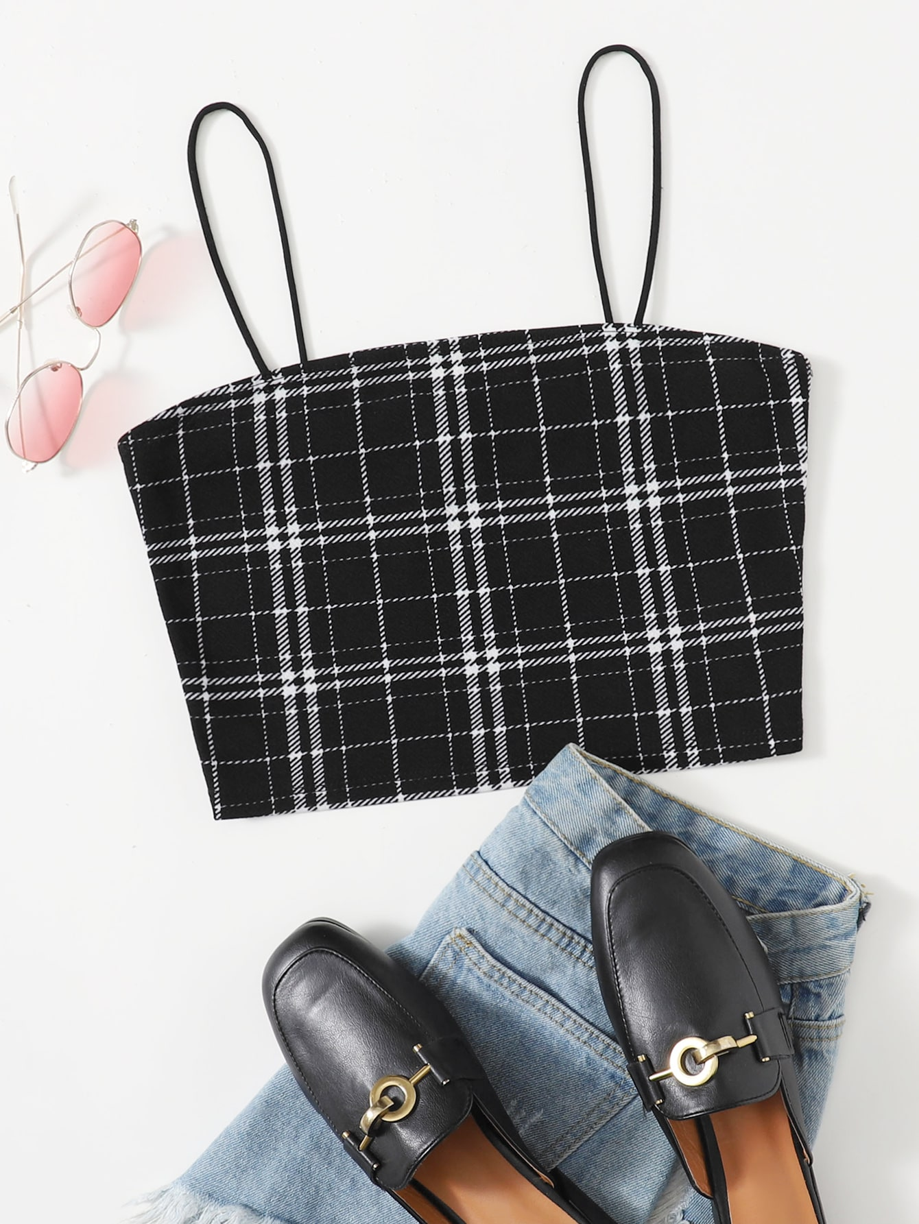 Plaid Crop Cami Top thumbnail
