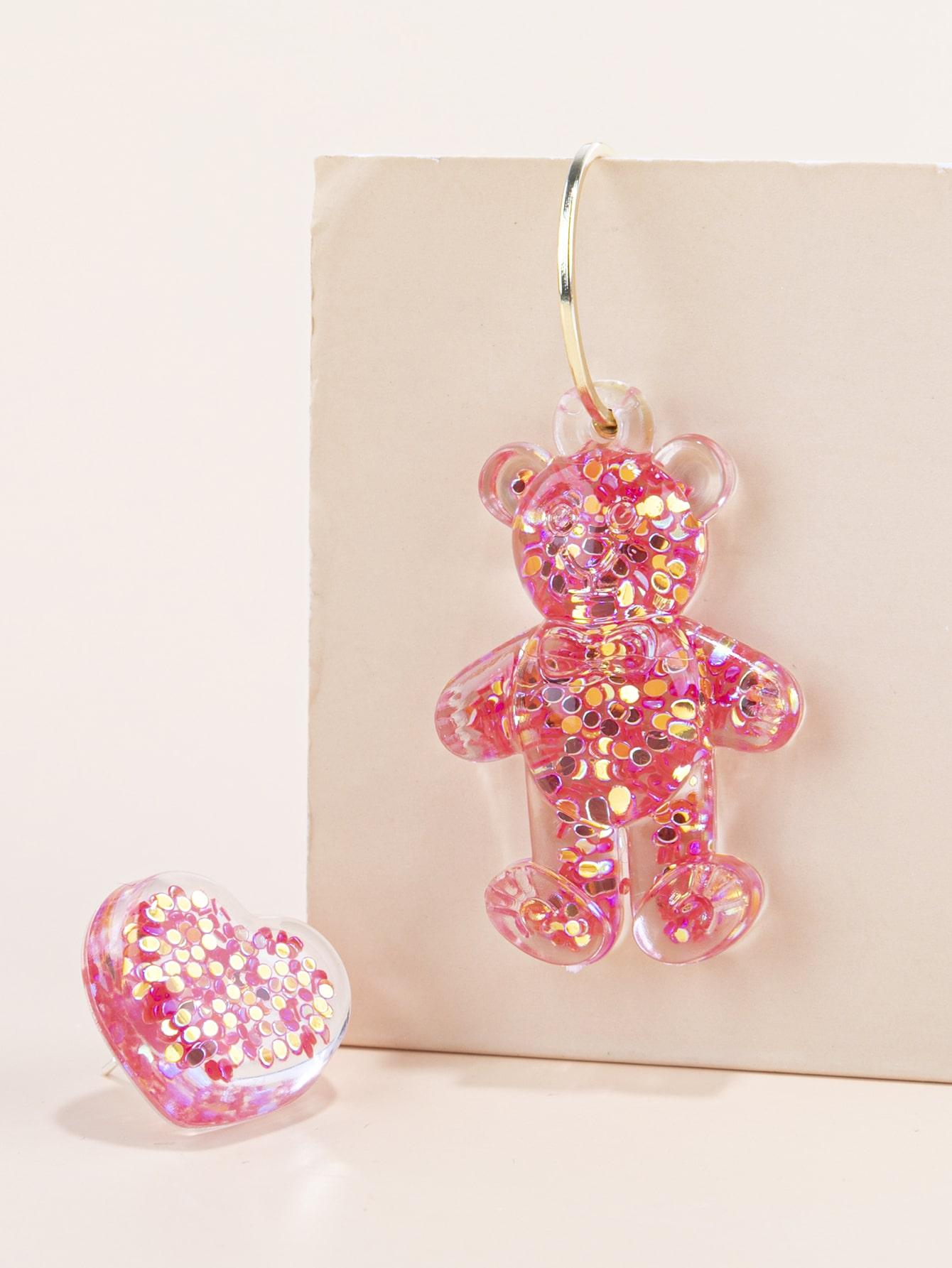 Acrylic Bear Mismatched Drop Earrings thumbnail