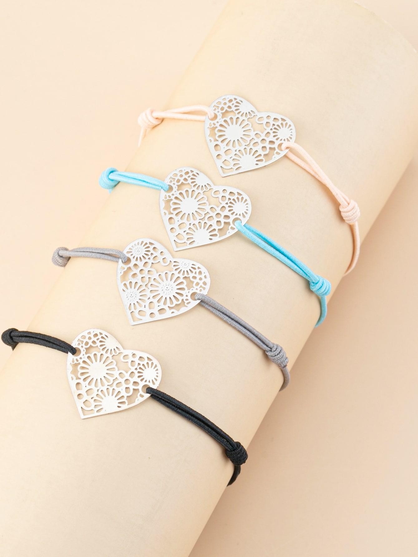 4pcs Heart Decor String Bracelet thumbnail