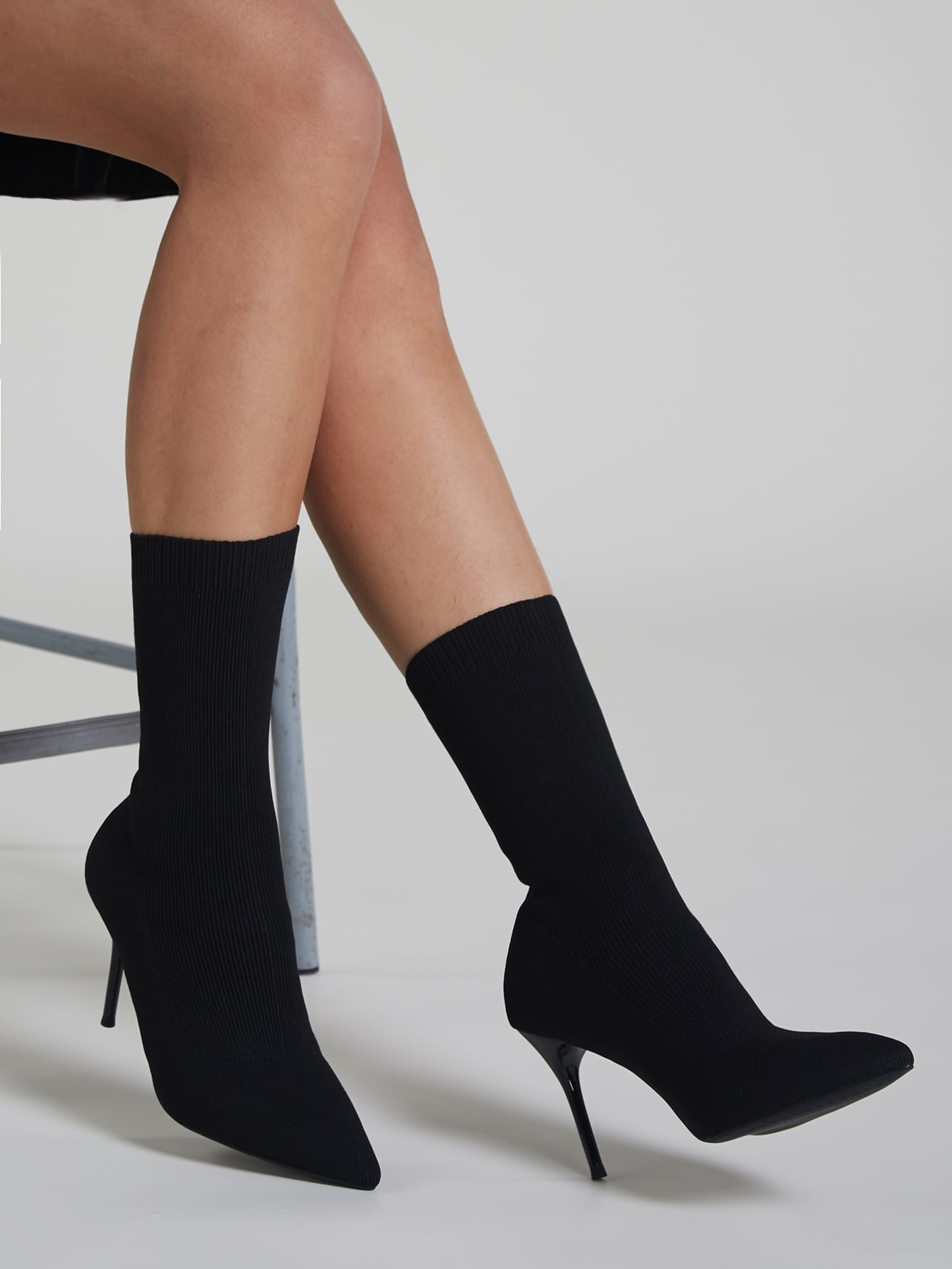 Point Toe Stiletto Heeled Knit Stretch Boots