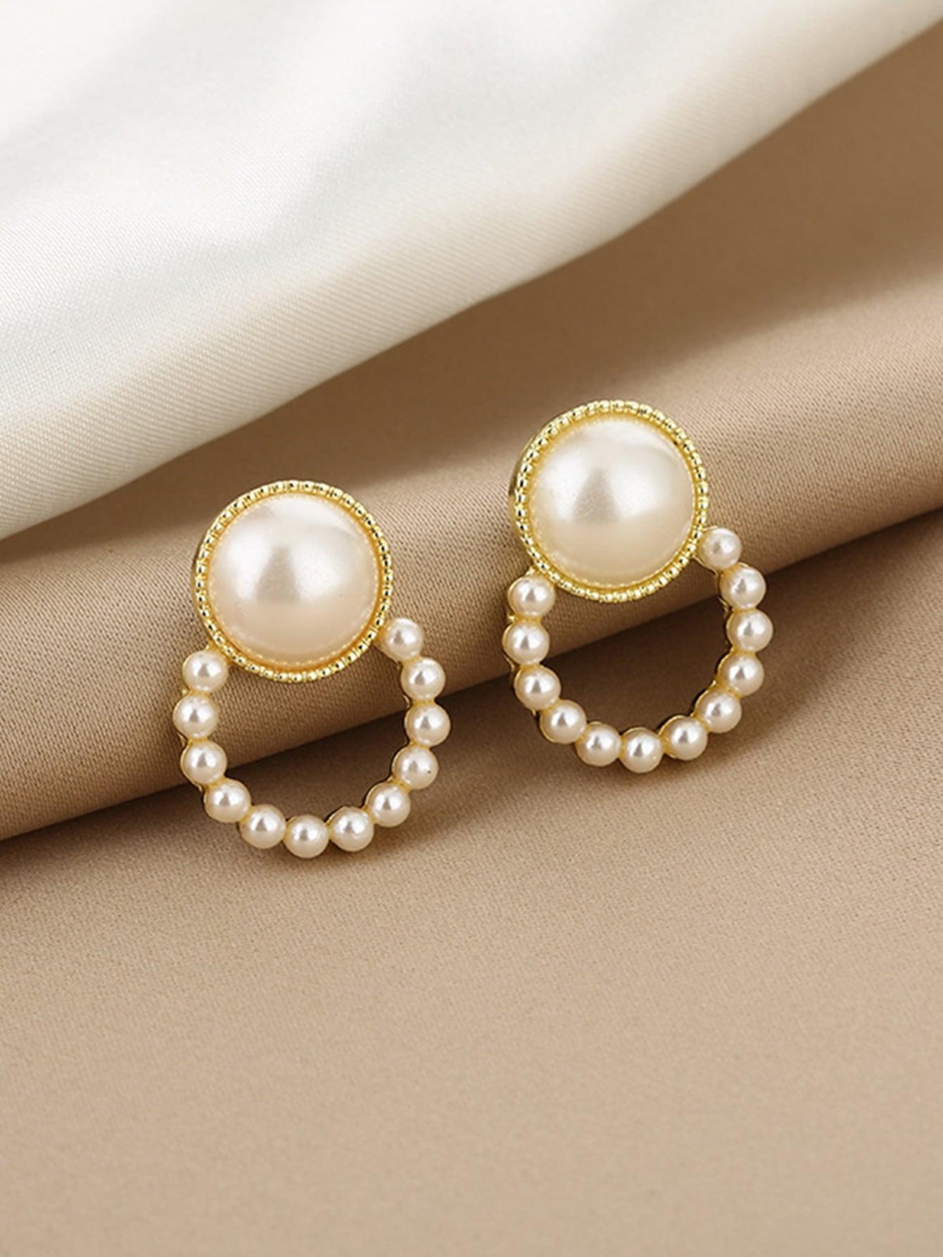 Faux Pearl Decor Round Design Stud Earrings thumbnail