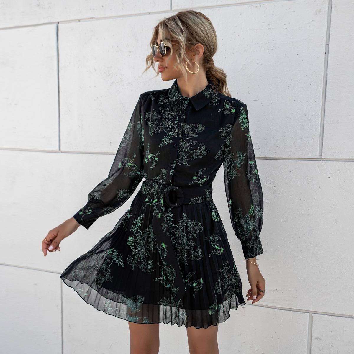 плиссированное Цветочный принт Элегантный Платье
