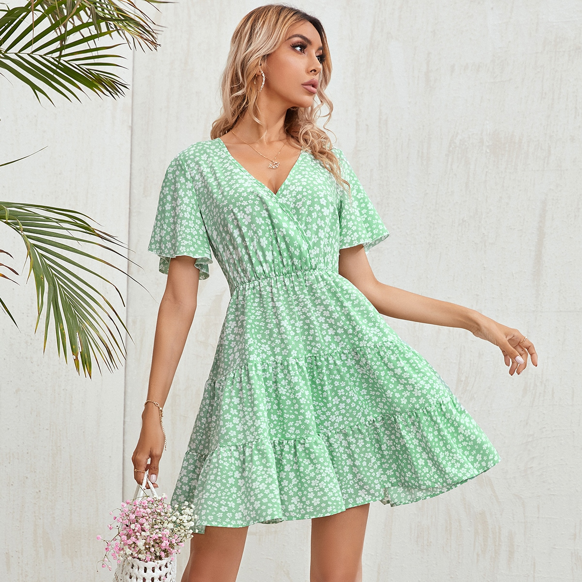 Surplice Neck Ruffle Hem Ditsy Floral Dress, SHEIN  - buy with discount