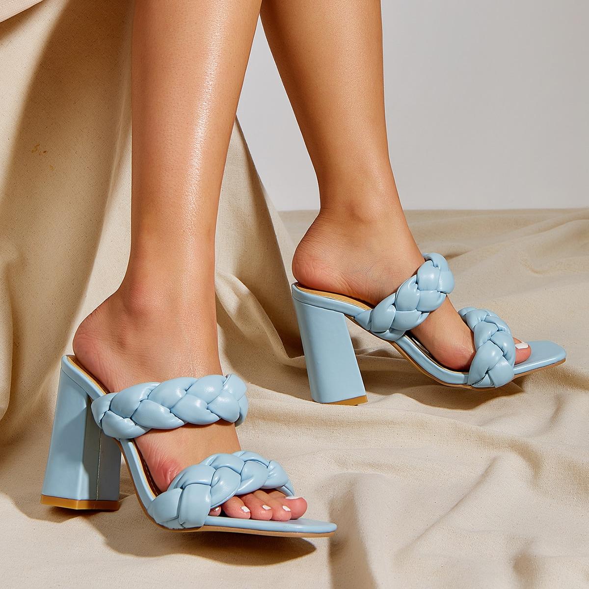Плетеные мюли на массивном каблуке