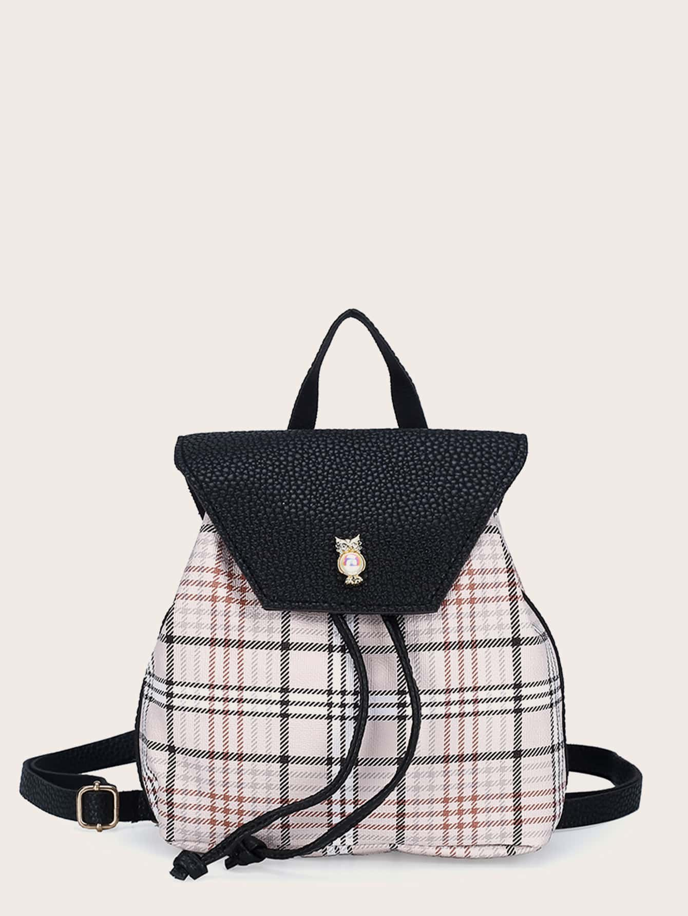 Plaid Pattern Flap Drawstring Bucket Bag Shein Usa