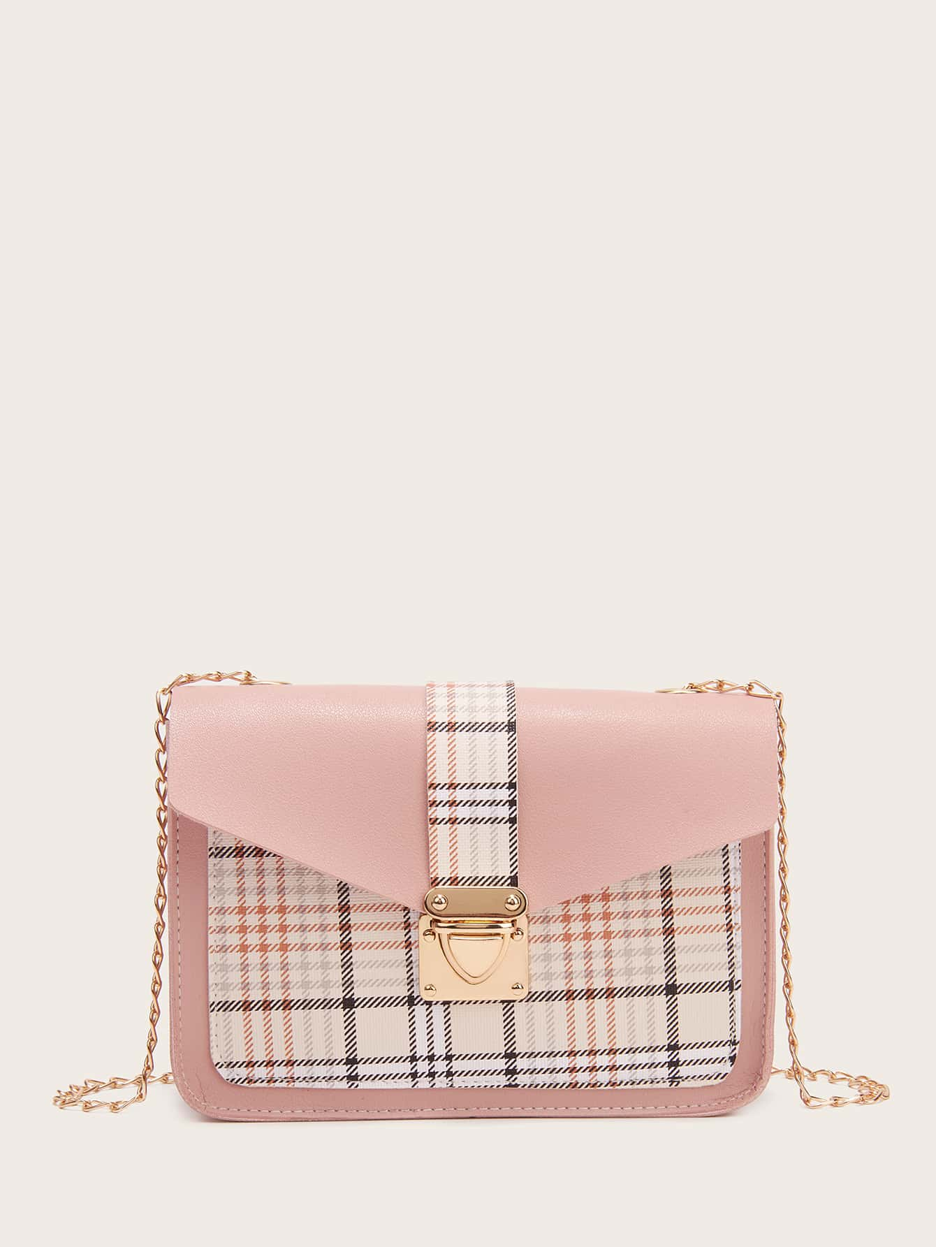 Push Lock Plaid Flap Chain Bag thumbnail