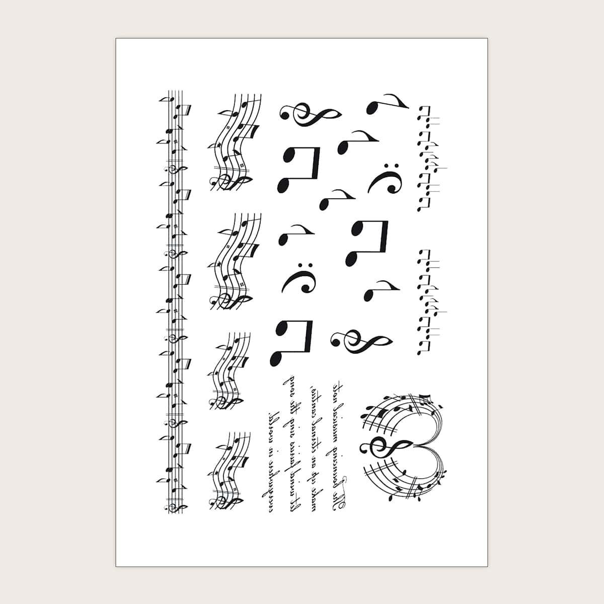 1 feuille Sticker de tatouage à motif note musique