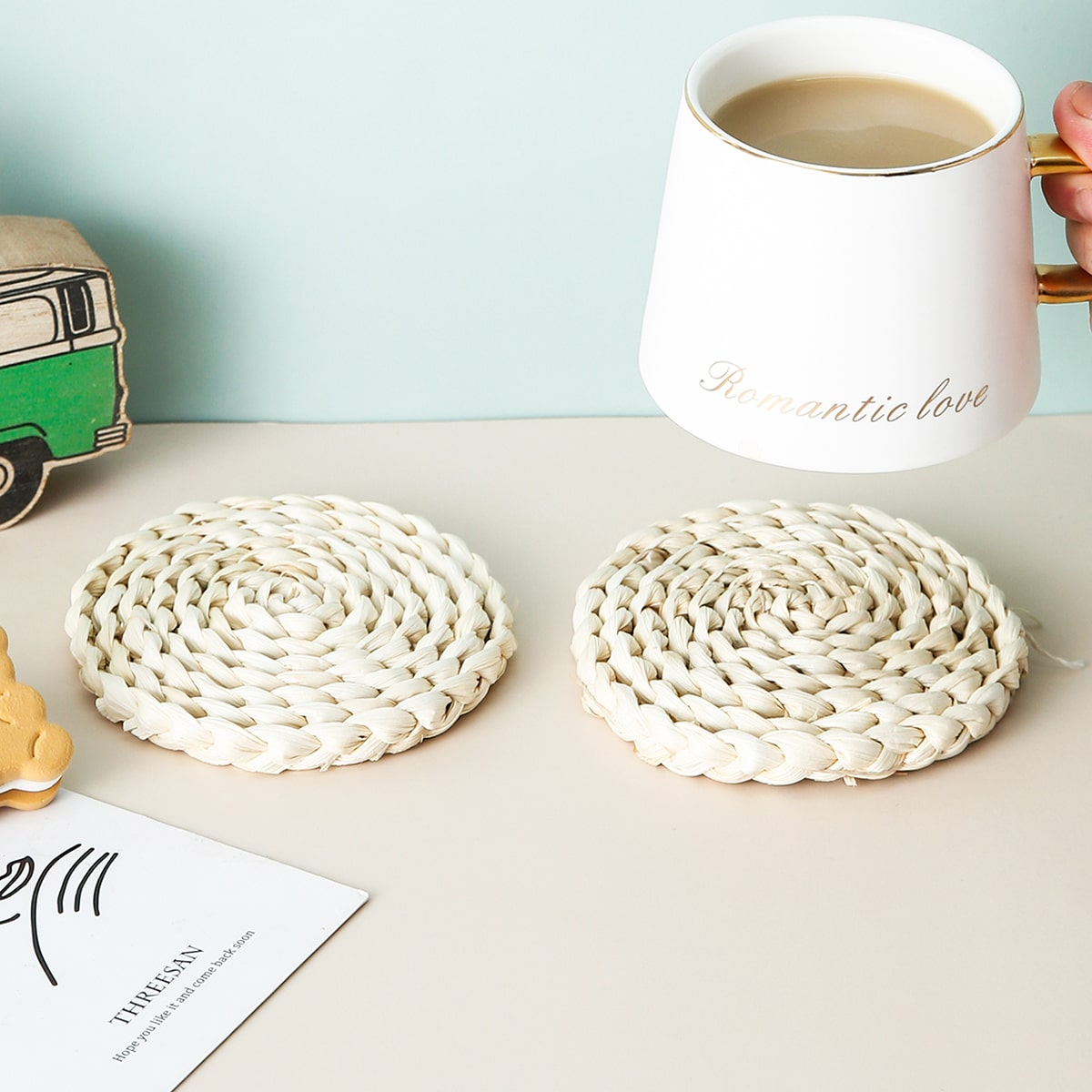 1pc Round Woven Coaster, SHEIN  - buy with discount
