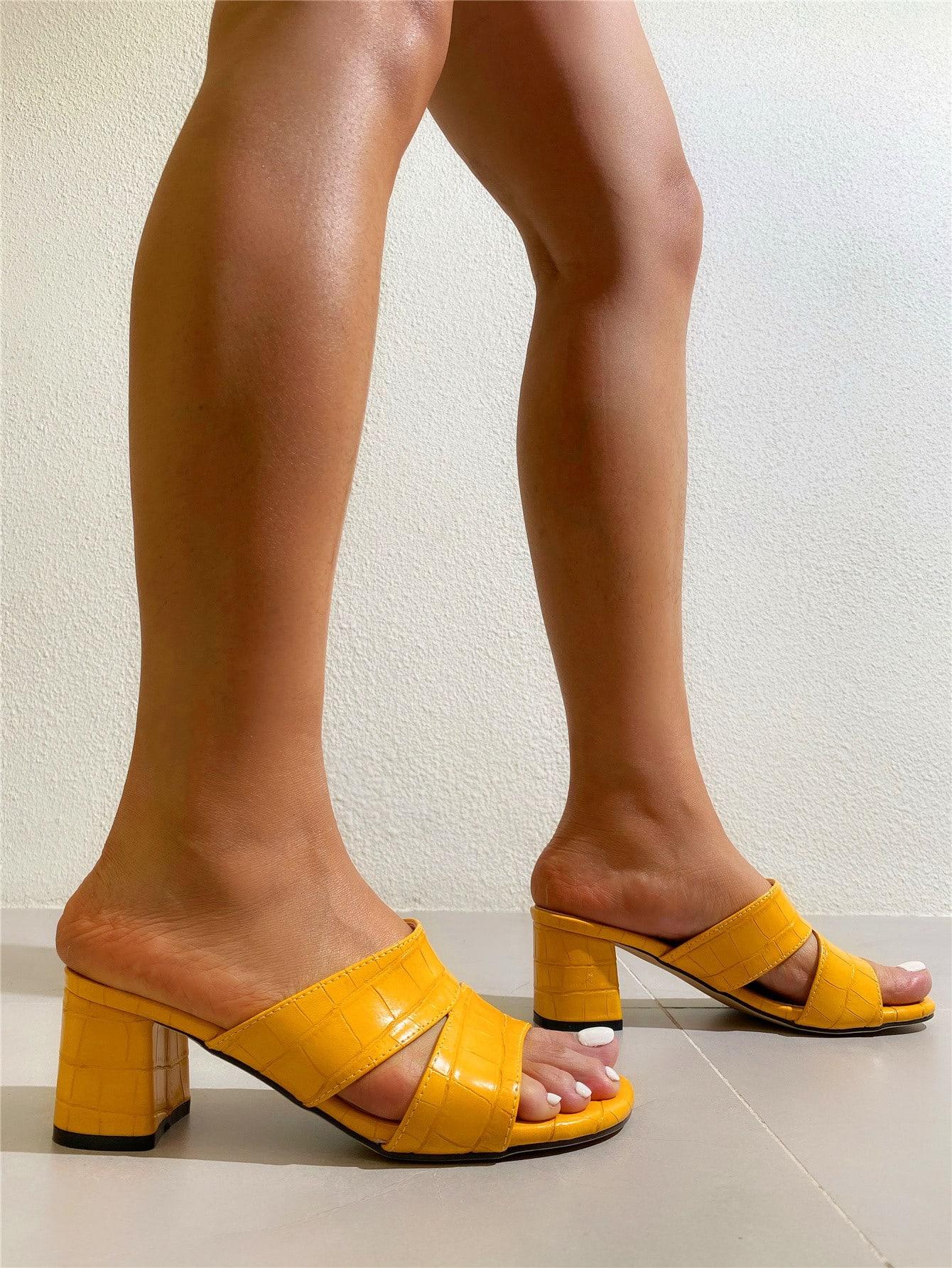 croc embossed chunky heeled mules
