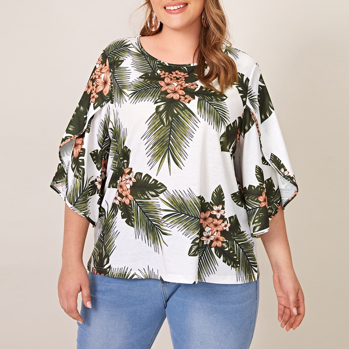Plus Floral & Tropical Print Blouse, SHEIN  - buy with discount