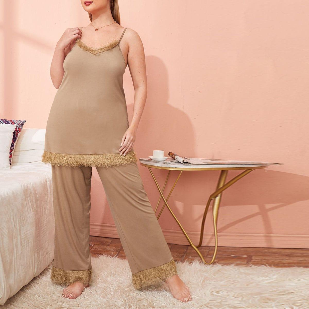 Контрастный искусственный мех Одноцветный Повседневный Пижама размер плюс