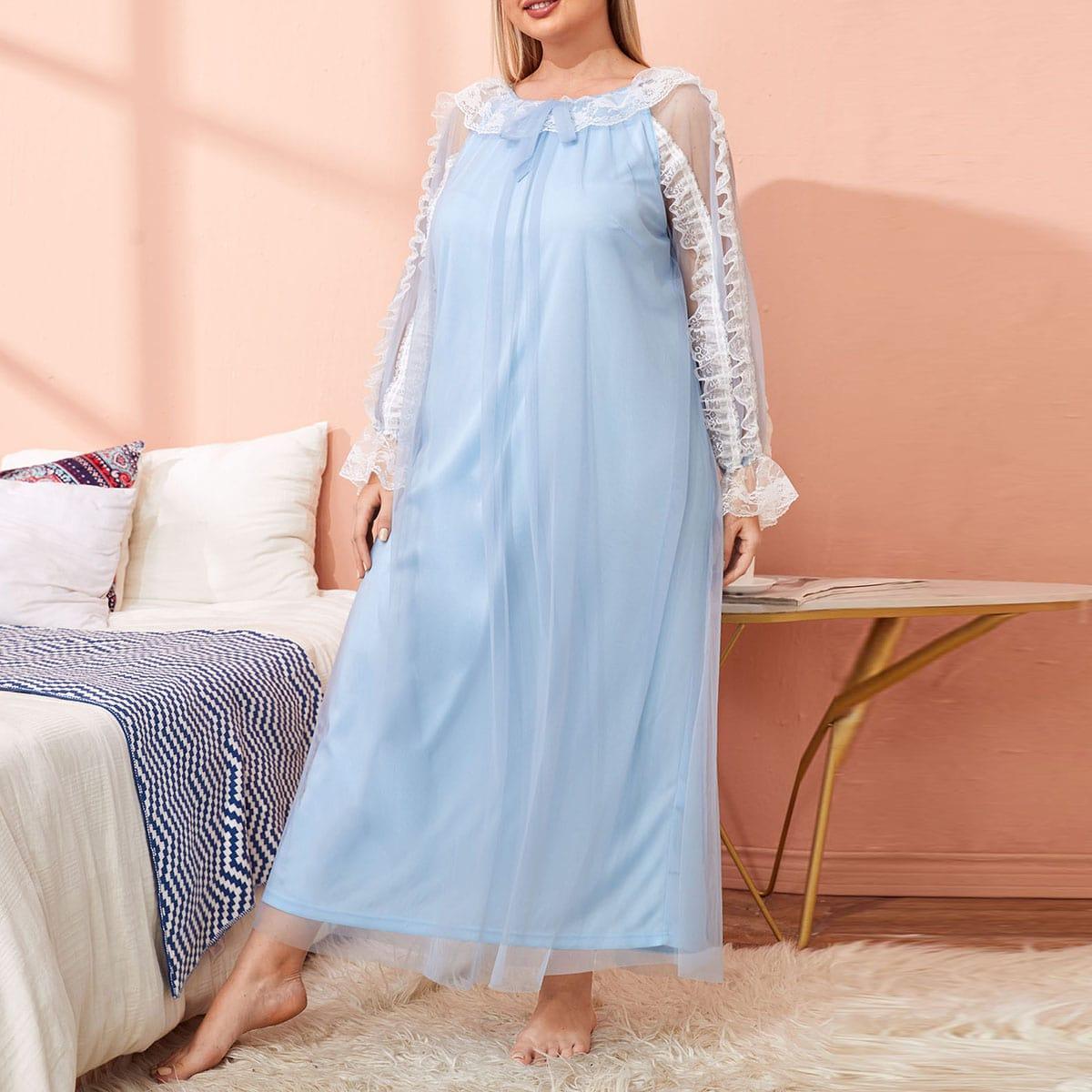 Пижама большого размера с сетчатой отделкой и кружевной отделкой по цене 952