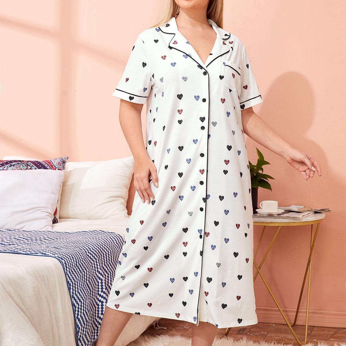 Накладной карман большого размера с отстрочкой - полная версия пижамы в форме сердца