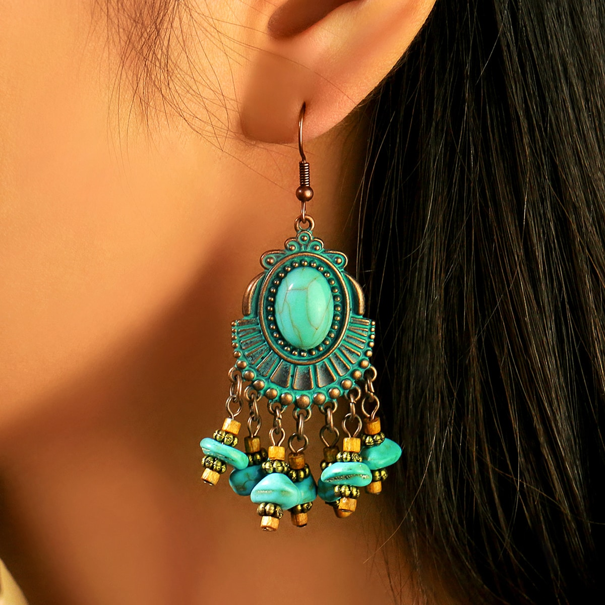 Turquoise Tassel Drop Earrings, SHEIN  - buy with discount