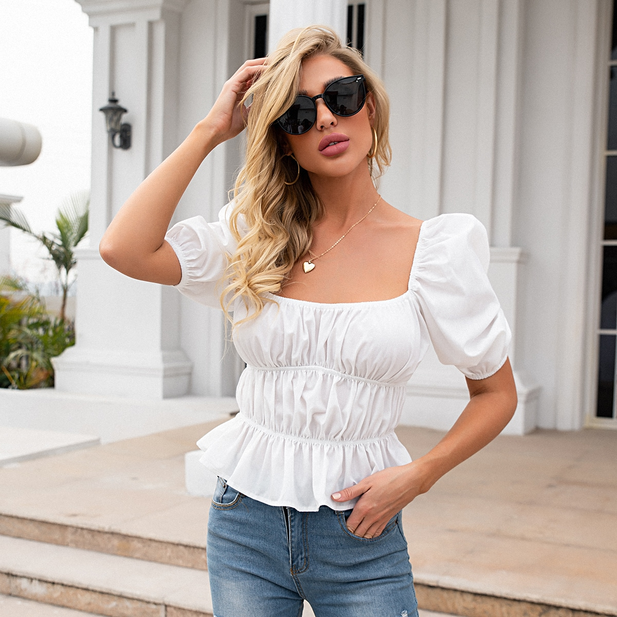 Solid Square Neck Ruched Bust Peplum Blouse, SHEIN  - buy with discount