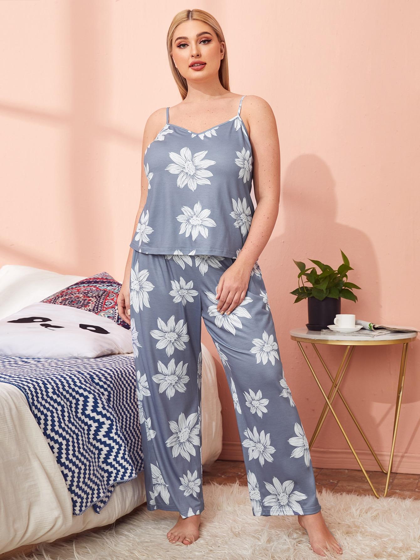 Plus Floral Cami Top & Pants Set