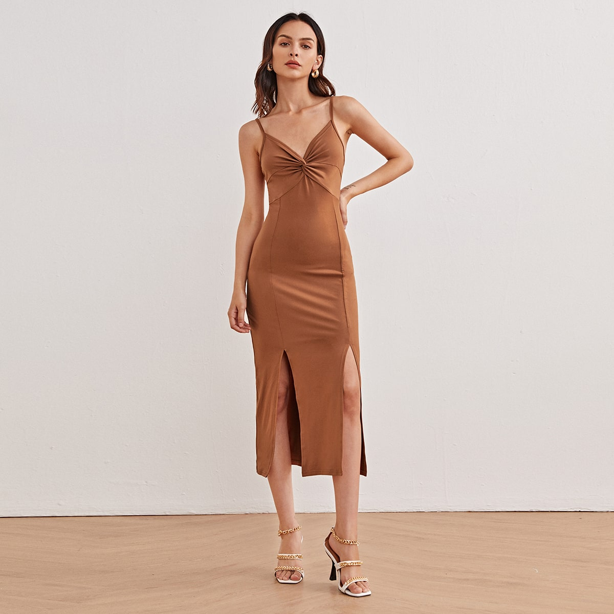 Разрез Одноцветный Элегантный Платье