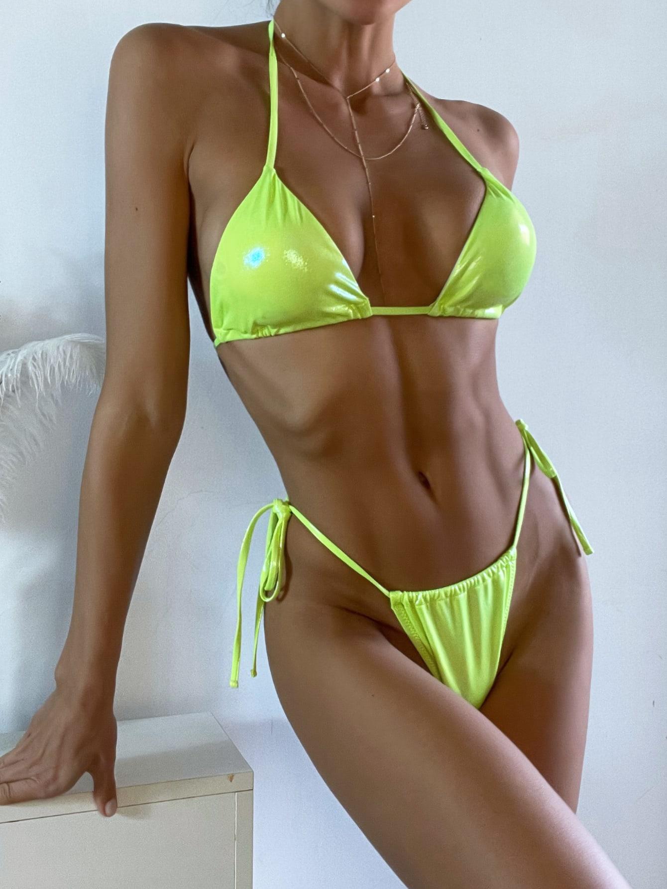 Neon Lime Metallic Micro Triangle Thong Bikini Swimsuit thumbnail