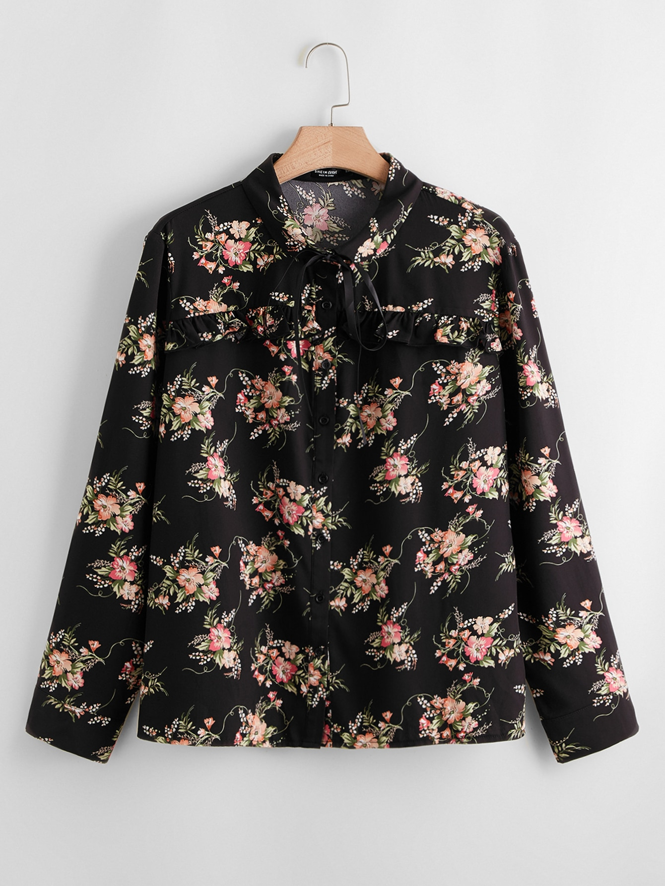 Plus All Over Floral Print Button Front Blouse