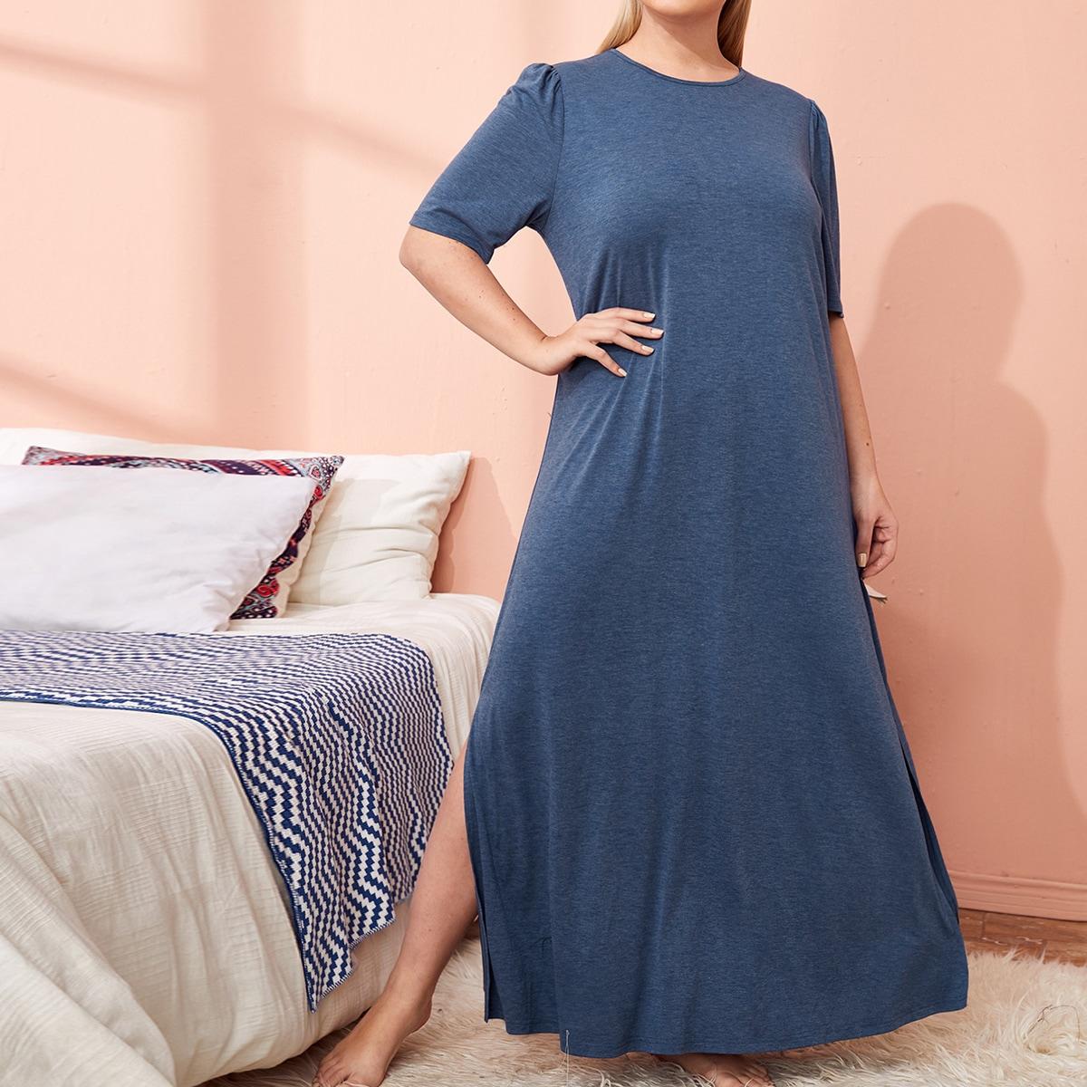 Простая однотонная пижама с разрезом по низу
