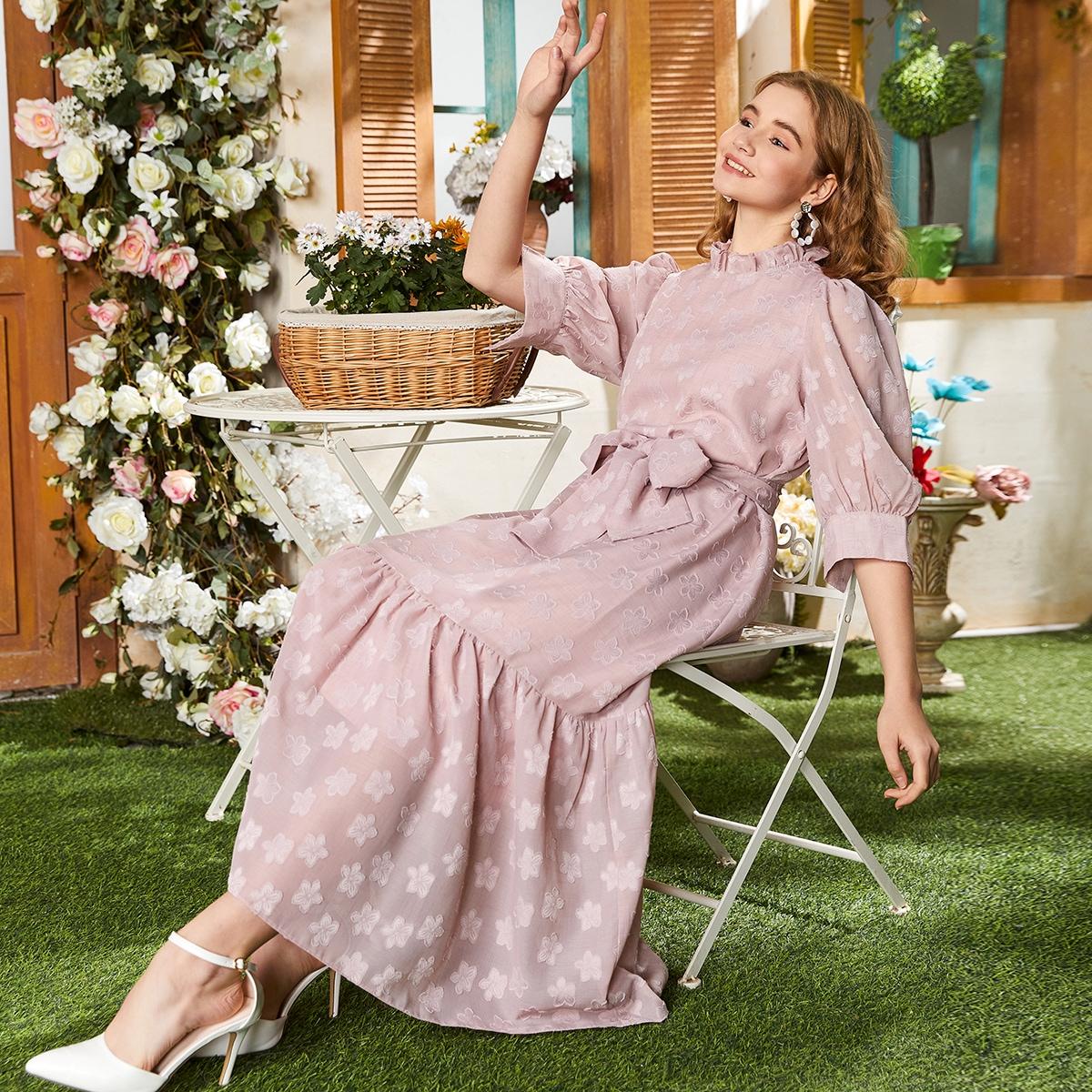 на пуговицах Цветочный принт Элегантный Платье