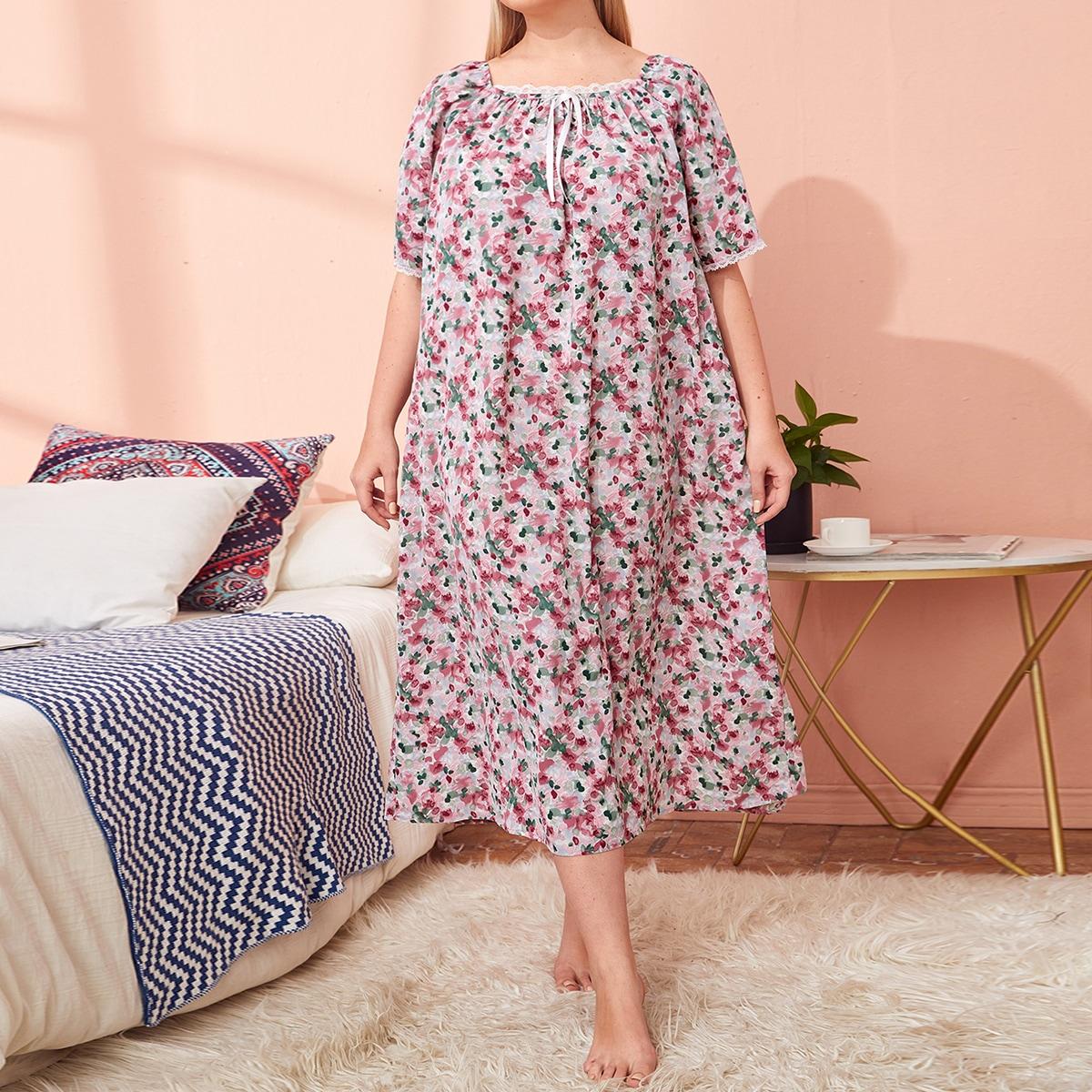 Галстук большого размера с квадратным вырезом Маленькая ночная рубашка с цветочным принтом от SHEIN