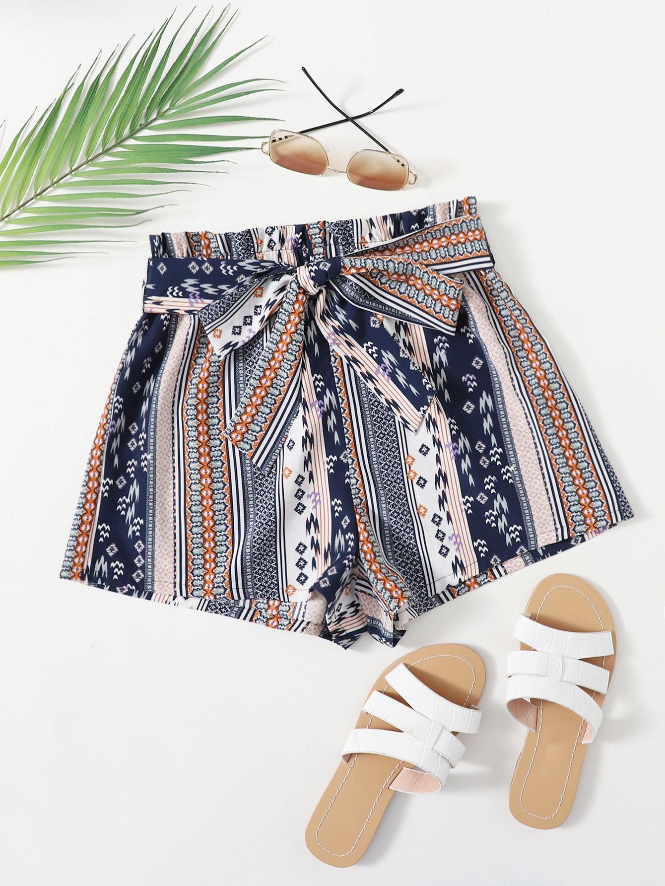Paperbag Waist Self Belted Shorts thumbnail