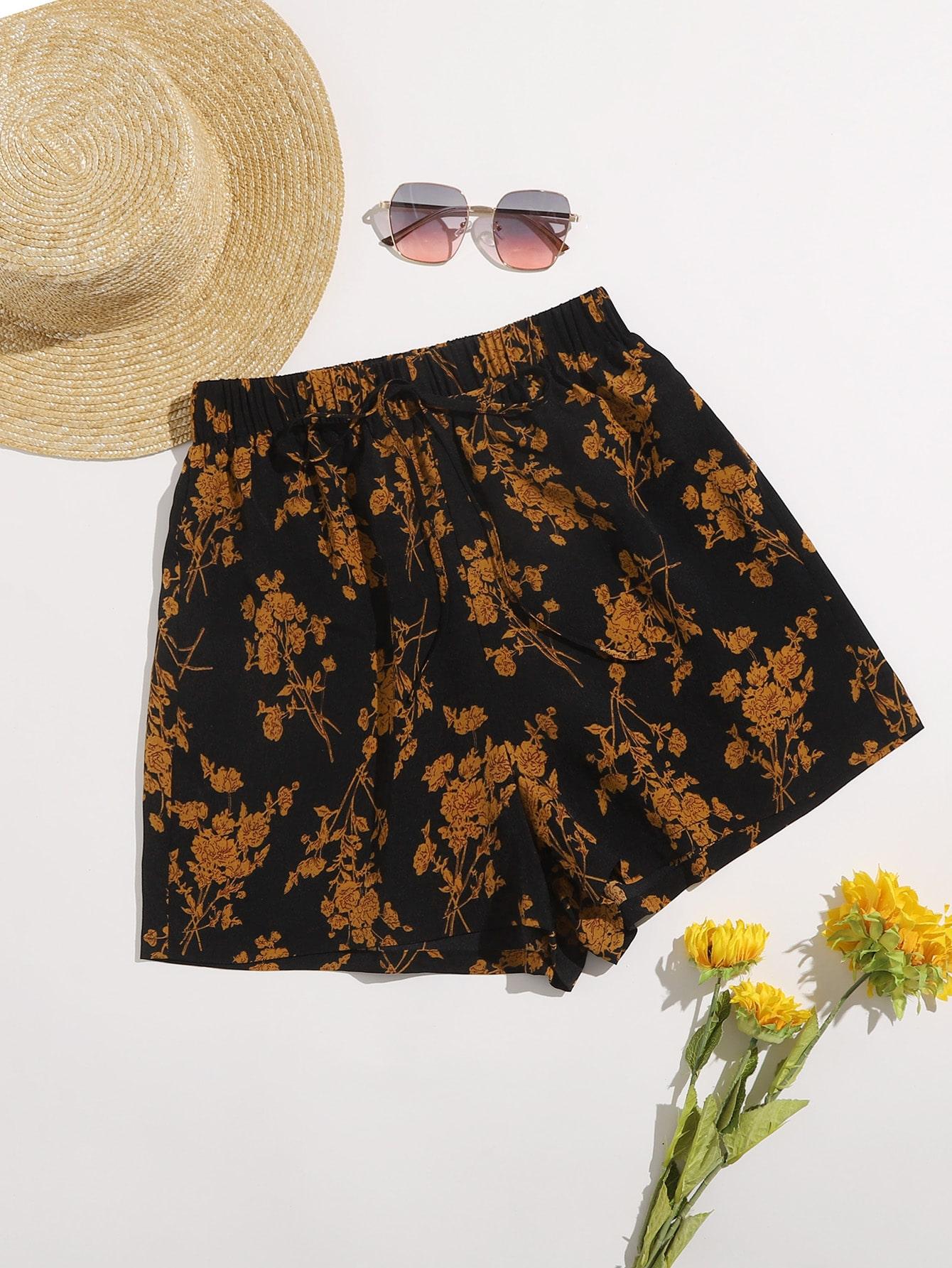Tie Front Floral Shorts thumbnail