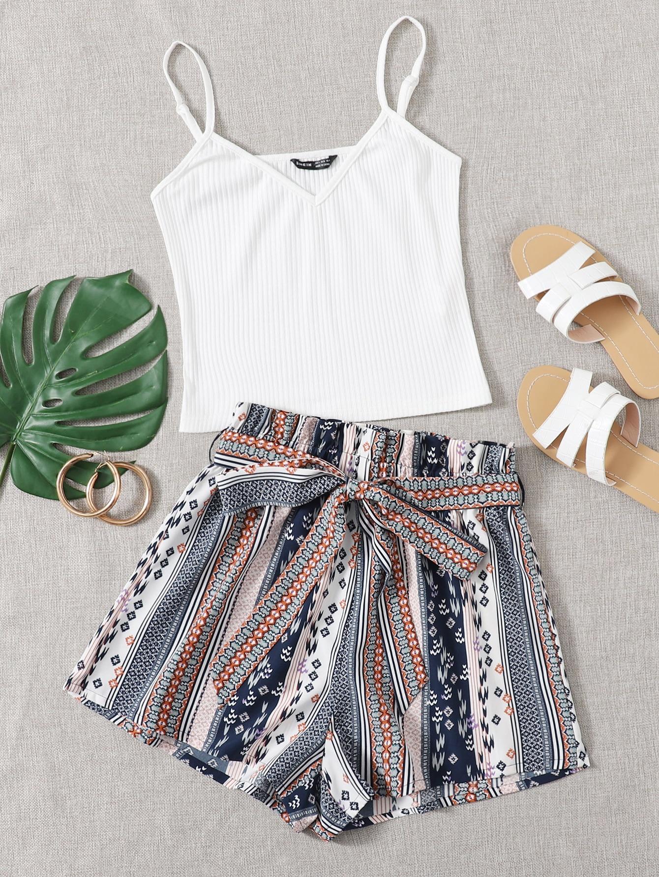 V-neck Cami Top and Paperbag Waist Shorts Set thumbnail