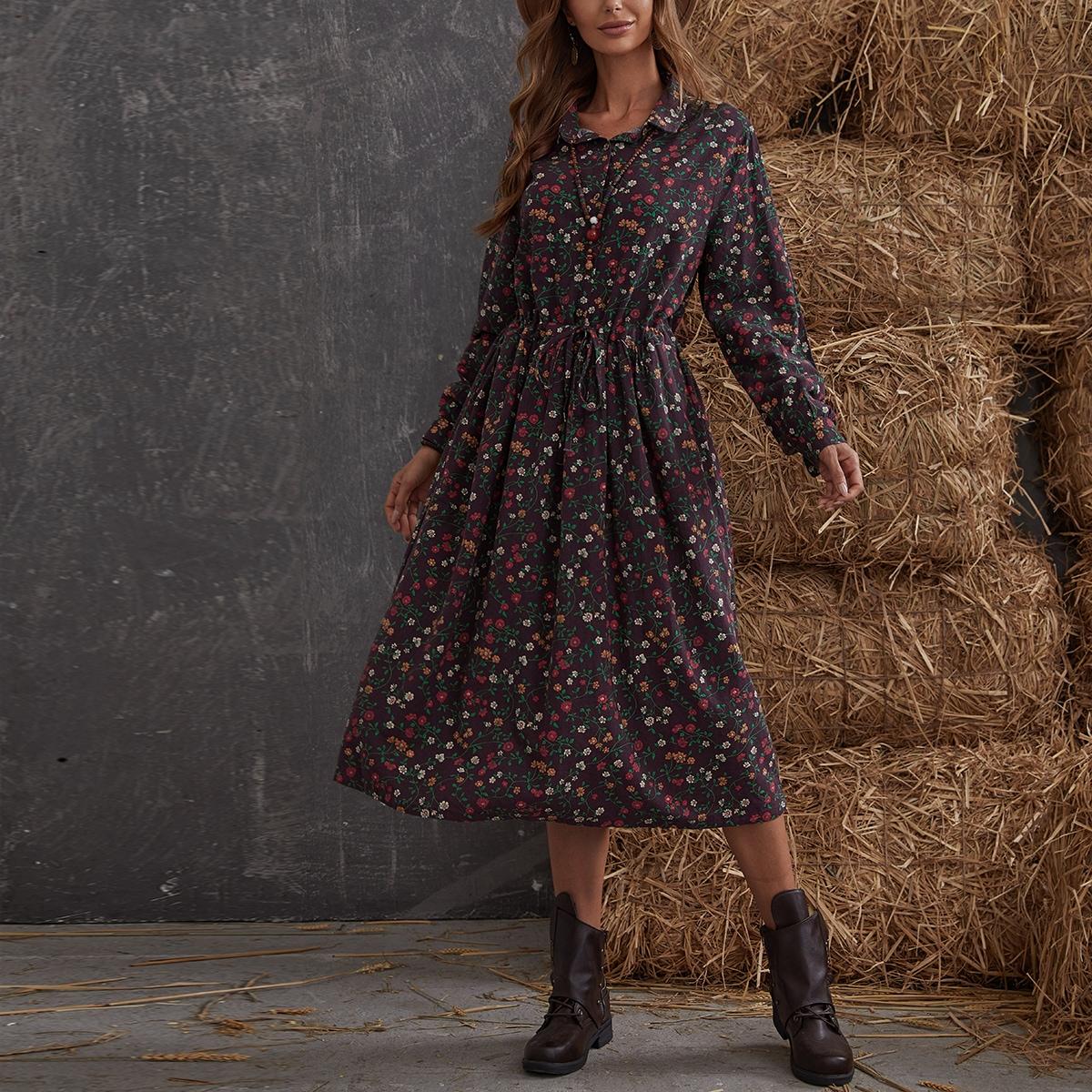 Платье-рубашка с цветочным принтом и узлом