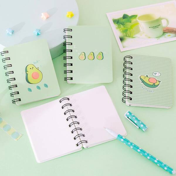 1pack Avocado Print Cover Random Spiral Notebook, Multicolor