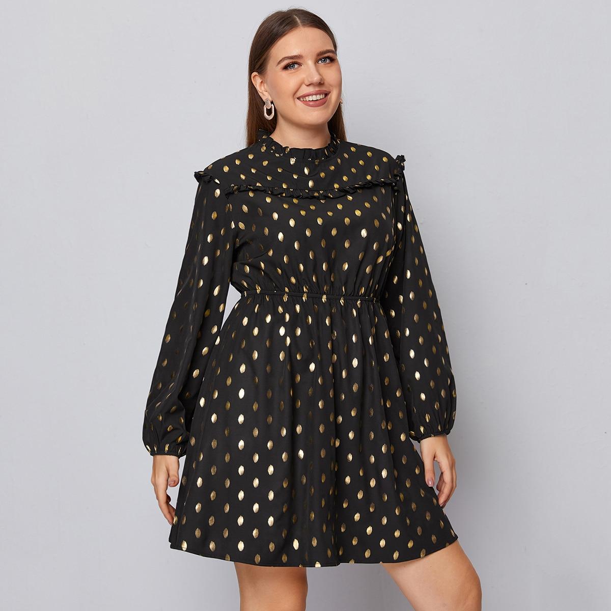 Платье размера плюс в горошек