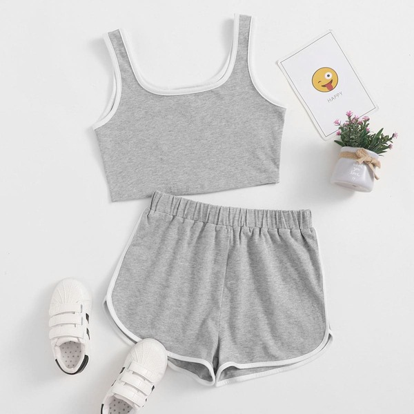 Girls Contrast Binding Top and Dolphin Shorts Set, Light grey