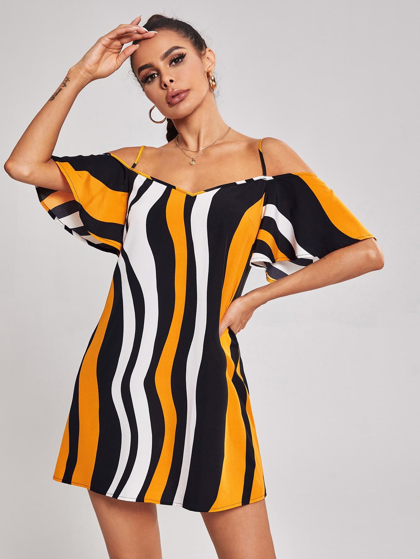 Cold Shoulder Wave Striped Dress thumbnail