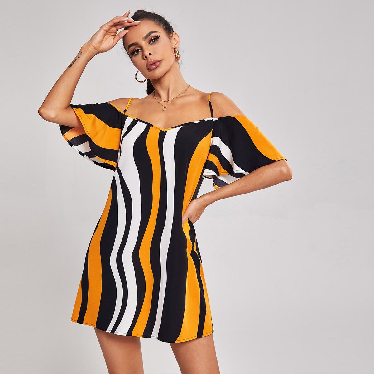 Контрастный цвет Повседневный Платье