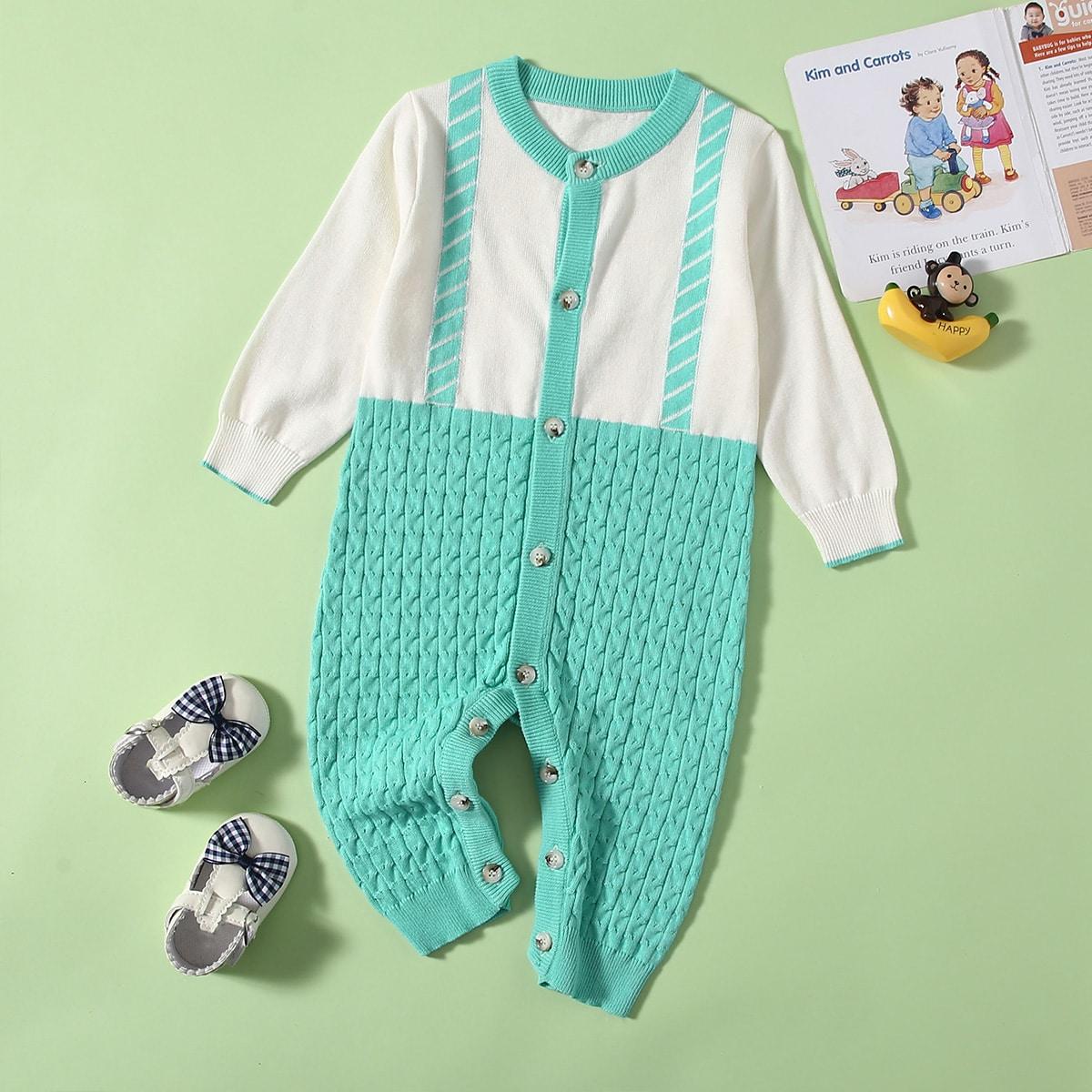 Пуговица контрастный цвет повседневный трикотажные комбинезоны для малышей