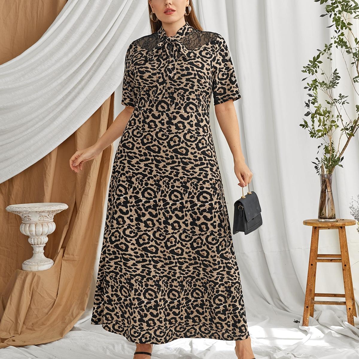 С оборками Леопардовый Элегантный Платья размер плюс