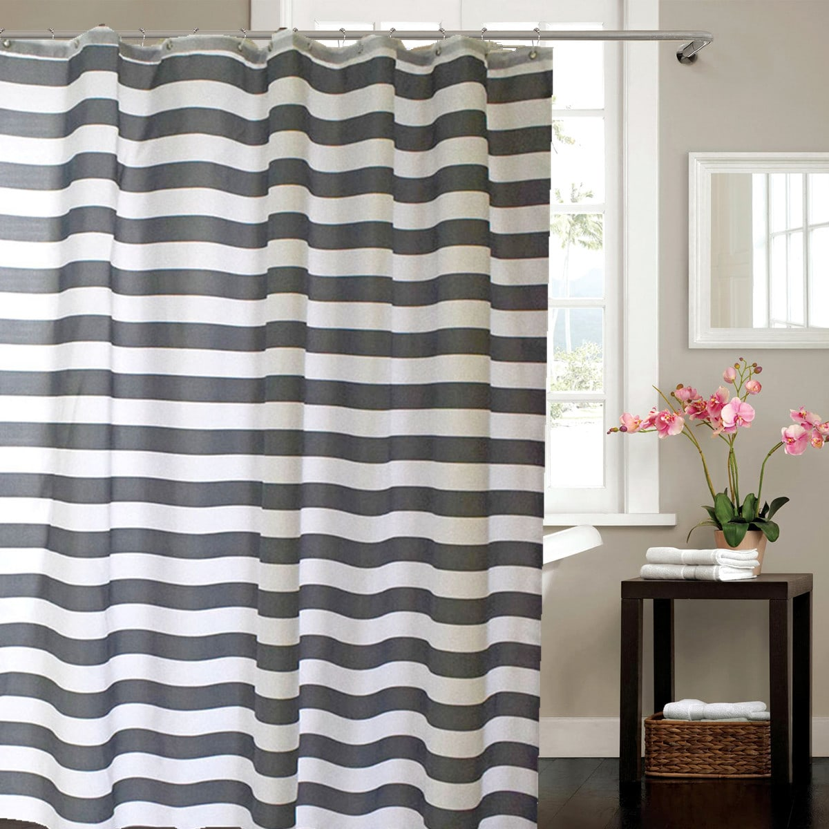 Striped Pattern Shower Curtain, SHEIN  - buy with discount