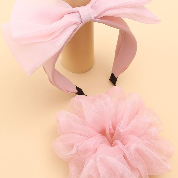Bow Decor Hair Hoop & Scrunchie, Pink