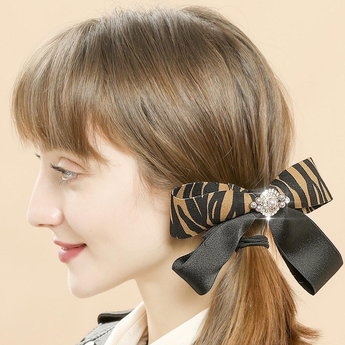 Bow & Rhinestone Decor Hair Clip, SHEIN  - buy with discount
