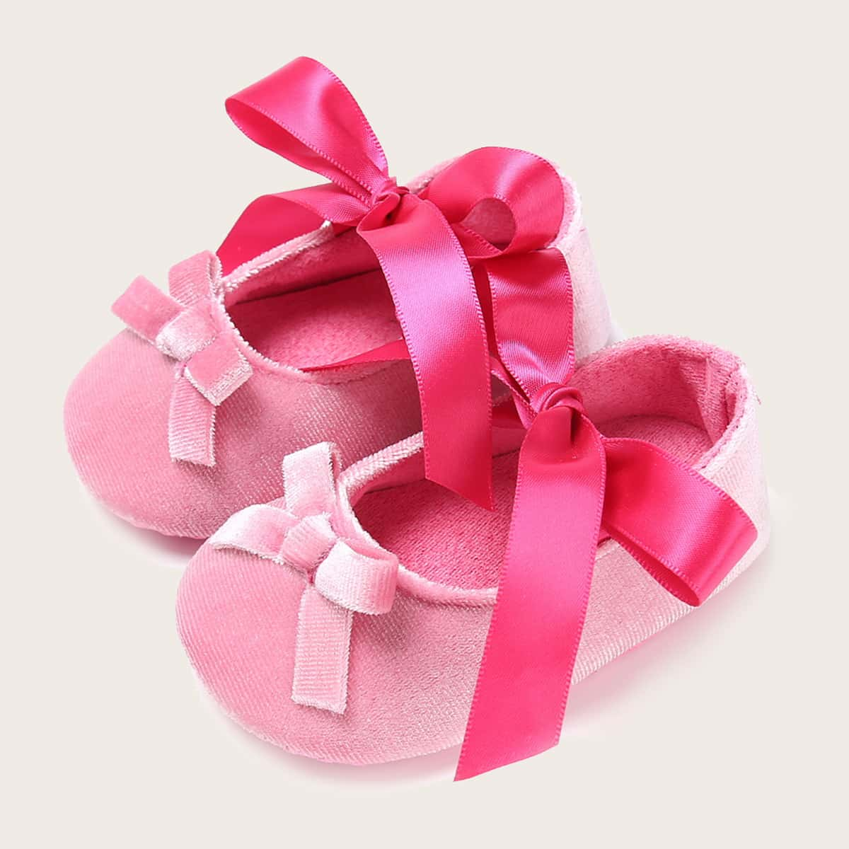 SHEIN Baby Girl Bow Decor Wide Fit Flats