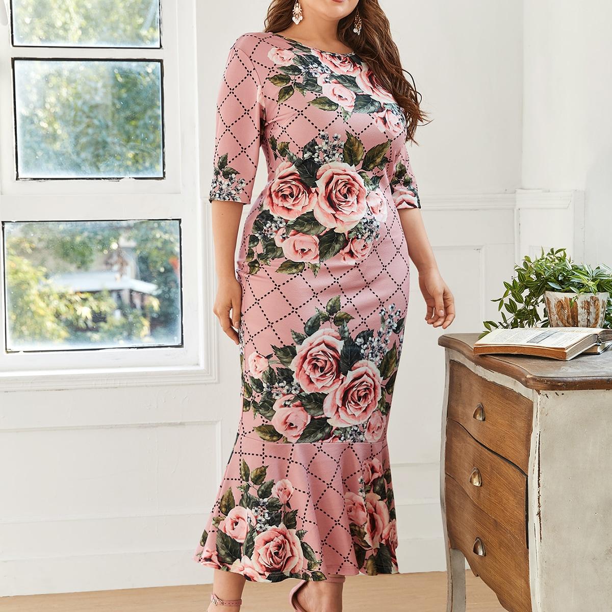 Plus Floral Print Mermaid Hem Dress