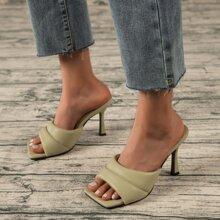 Plain Stiletto Heeled Mule Sandals