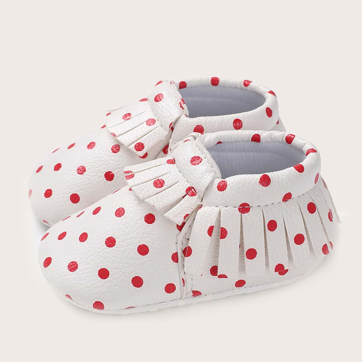 SHEIN Baby Girl Polka Dot Fringe Trim Flats