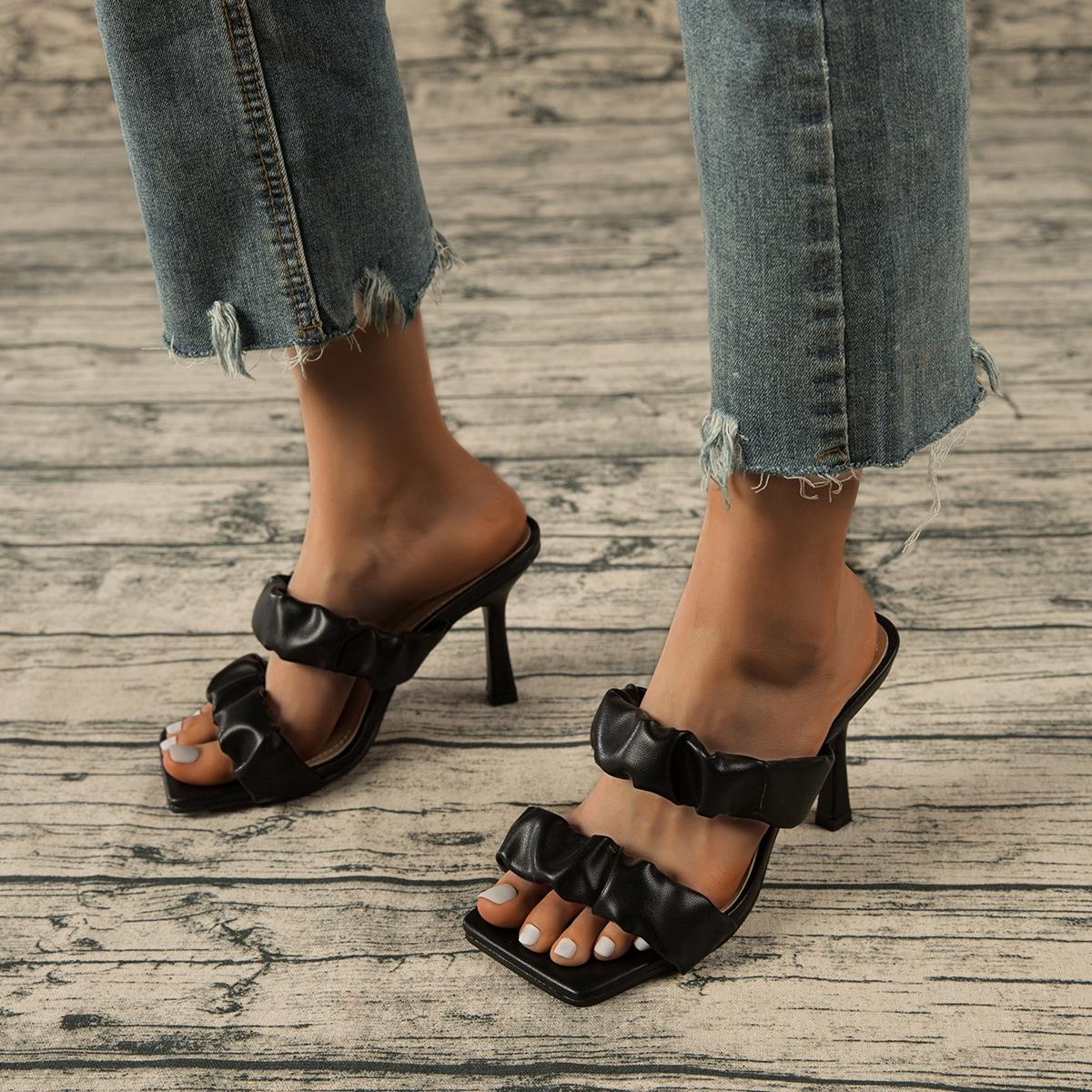 Мюли на каблуках со сборками