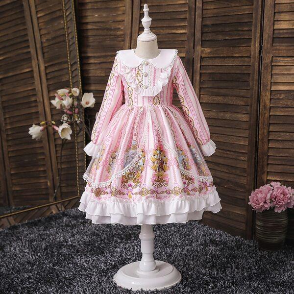 Girls Contrast Mesh Layered Ruffle Hem Lolita Dress, Multicolor
