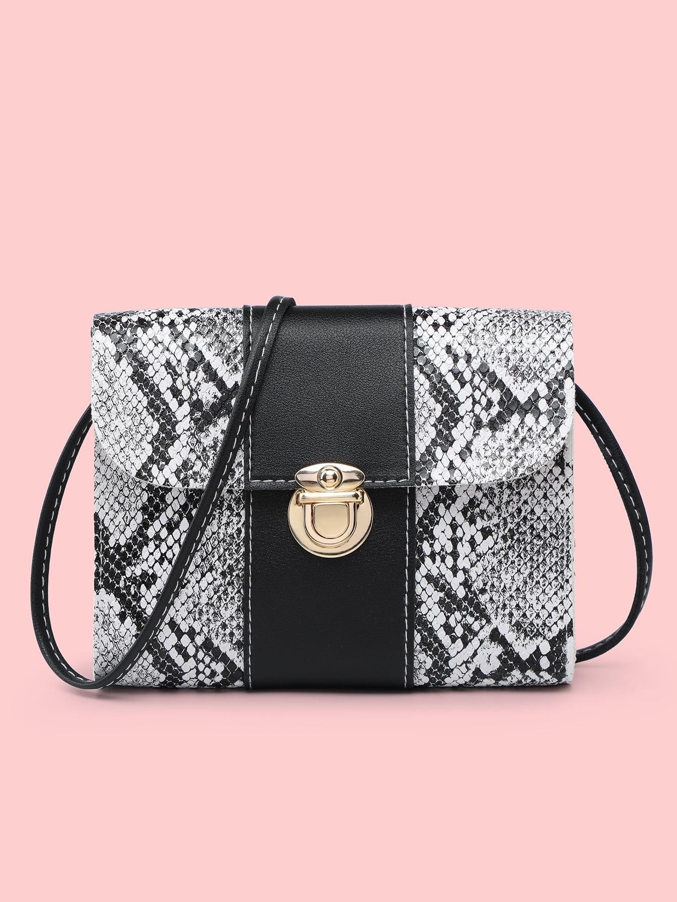 Snakeskin Print Push Lock Flap Crossbody Bag thumbnail