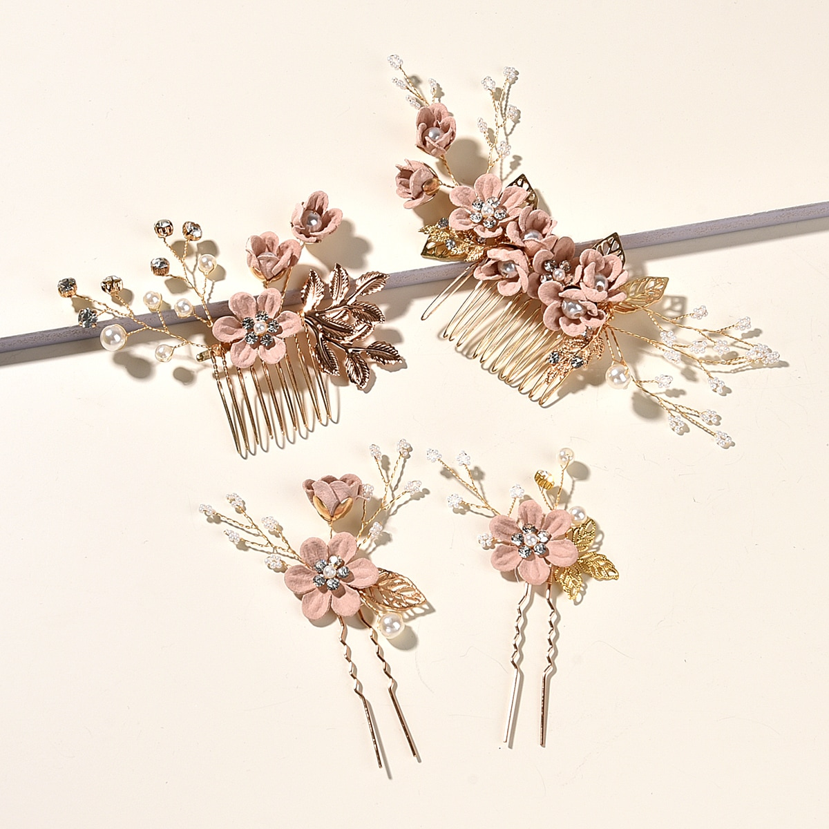 Flower & Faux Pearl Decor Hairpin Comb, SHEIN  - buy with discount