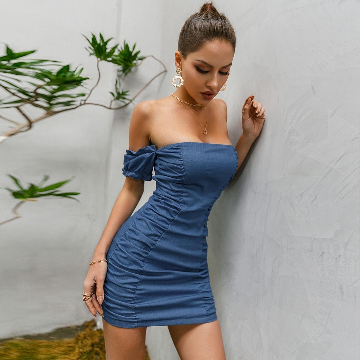 shein Sexy Vlak Denim jurk Rits